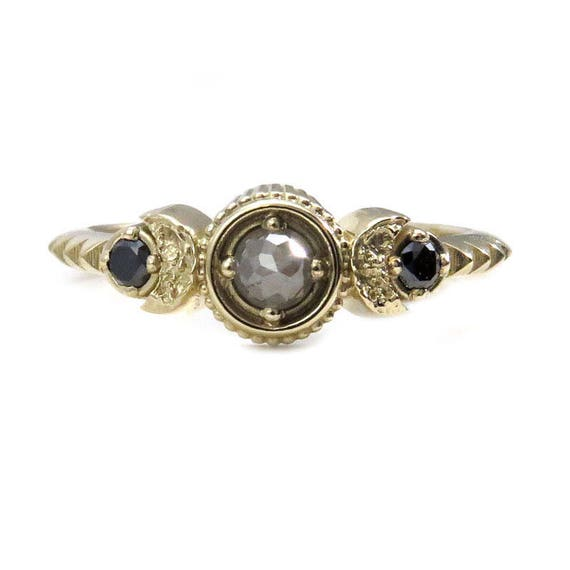 Rose Cut Grey Diamond Petite Moon Engagement Ring with Black Diamond Side Stones - 14k Gold
