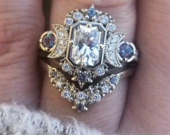 Emerald Cut Selene Moon Goddess Engagement Ring Set - Moissanite , Diamond and Chatham Alexandrite - 14k Palladium White Gold