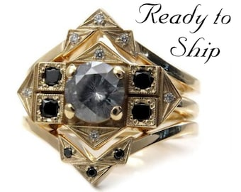 Ready to Ship Size 6 - 8 - Art Deco Engagement Ring Set - 6.5mm Grey Clair de Lune Moissanite w/ Matching Wedding Bands - One of a Kind