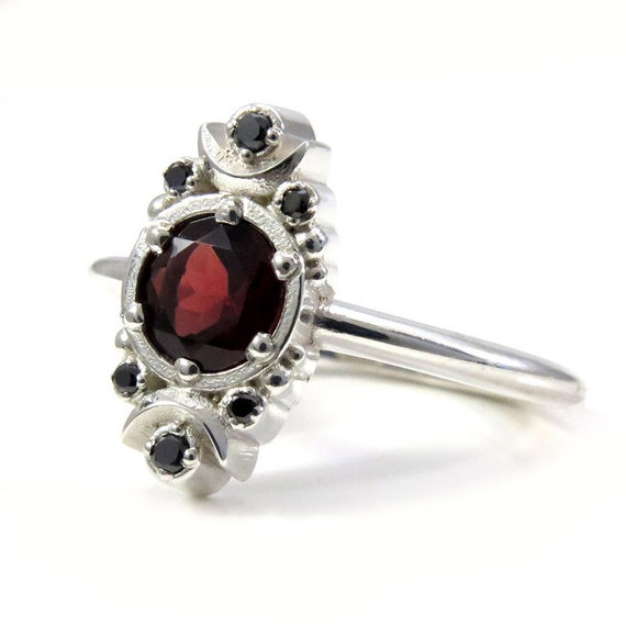 Ready to Ship Size 6 - 8 - Gothic Garnet Blood Moon Engagement Ring with Black Diamonds - Sterling Silver