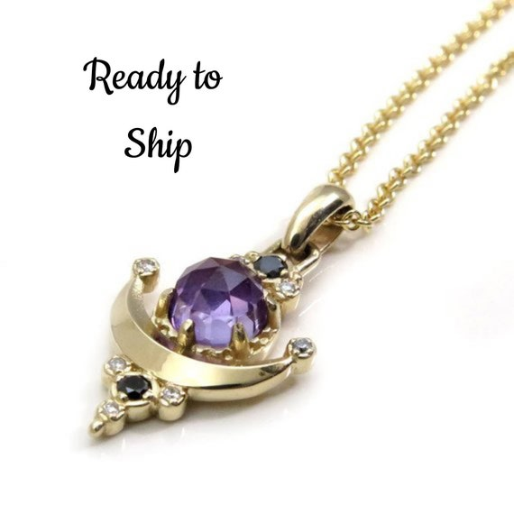 Lab Alexandrite Moon Anchor Pendant - Color Change - 14k Yellow Gold with Black and White Diamonds - Ready to Ship
