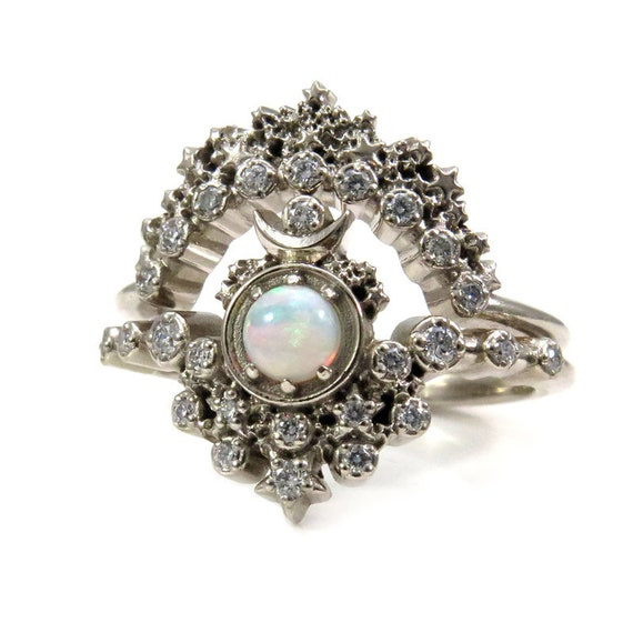 Moon Witch Engagement Ring Set - Australian Opal and Diamonds with Star Crown Diamond Wedding Band