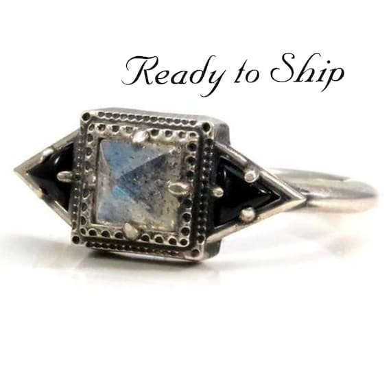 Ready to Ship Size 6 - 8 - Pyramid Labradorite Tomb Ring with Onyx Trillions - Modern Mourning Jewelry - Sterling Silver