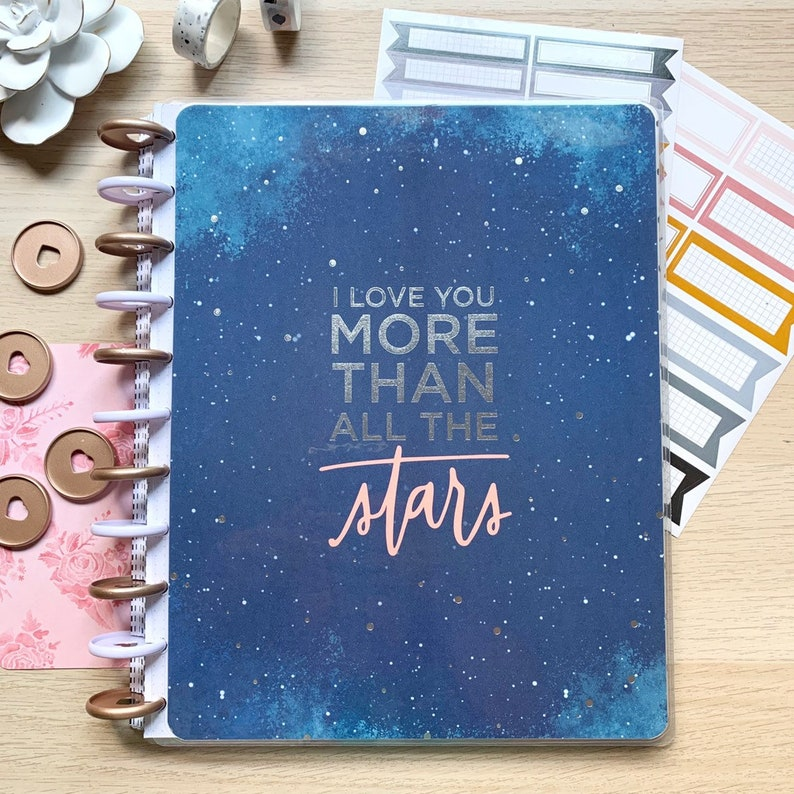 Silver Foil BIG Happy Planner Cover  Letter Size Disc Bound image 0