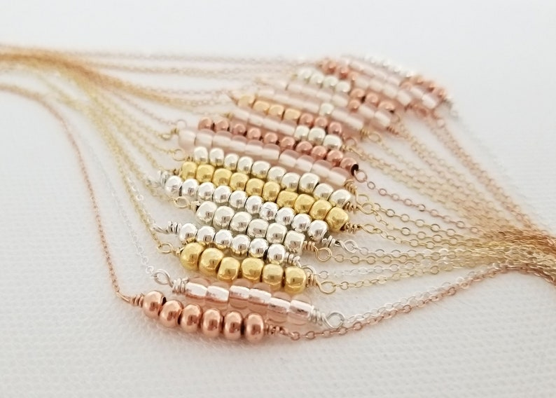 Rose Gold Beaded Bar Necklace Rose Gold Necklace Gold and Sterling Silver Beaded Necklace Collection Bridesmaid Mother/'s Necklace