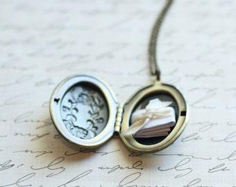 Forget me Not Locket Necklace - Add Photos - Antique Silver Locket - Rose Gold Locket - Secret Note Locket - Picture Locket Gift