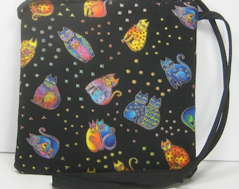 Floating Cats on Black, Caryn Crossbody Pouch