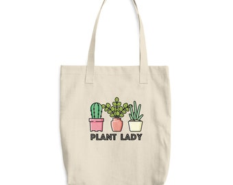 Plant Lady with Succulents Cotton Tote Bag