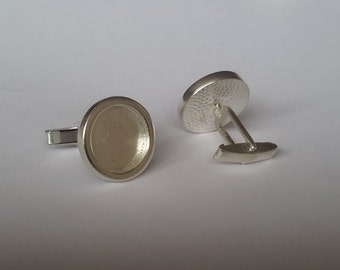 2 Solid Sterling Silver 925 Tube Cufflinks  findings FOR Jewelry designers
