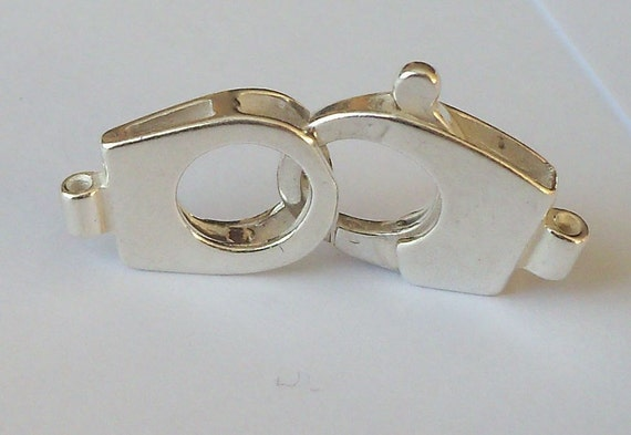 2 Strand Hook /& Eye Clasp Silver Plated 21mm Approx 6