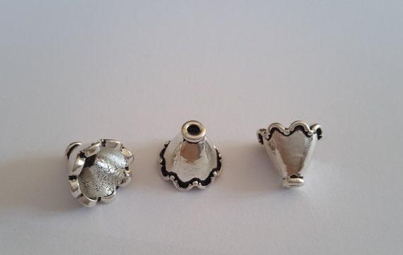 4 en argent Sterling 925 925 925 oxydé Flamenco jupe pétoncles perle Caps fin Cap cône Beads(8 mm inner diameter) 6be34d