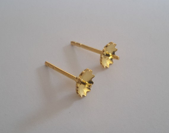 10 Sterling Silver Gold Plated Earring Ear Studs Posts Flower Etsy
