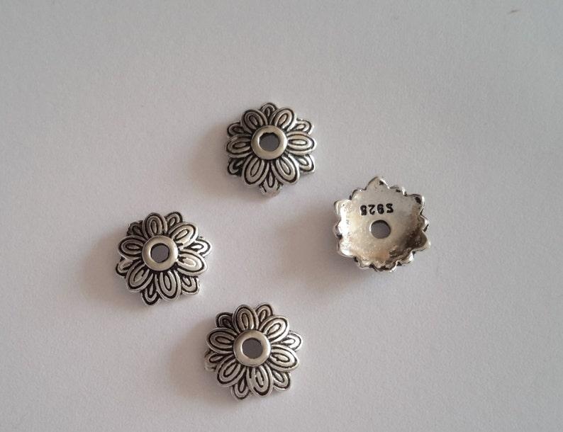 12 Sterling Silver Bali Flower Bead Caps