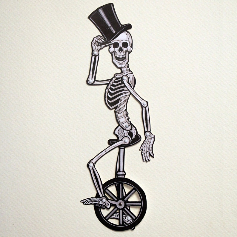 Skeleton Sir on Unicycle Articulated Paper Doll  Macabre image 0