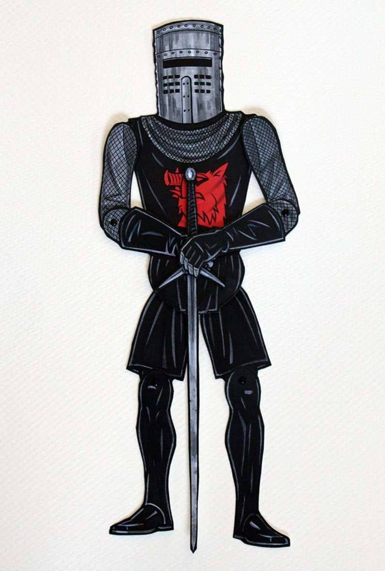 Black Knight Articulated Paper Doll  inspired by Monty Python image 0