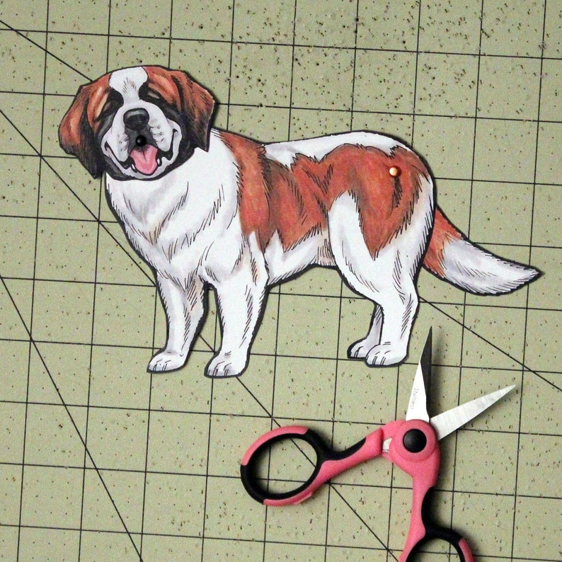 Bernard Articulated Paper Doll Gift Tag or Magnet Saint St