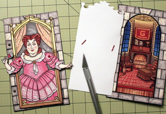 harry potter fat lady articulated paper doll opens to reveal etsy
