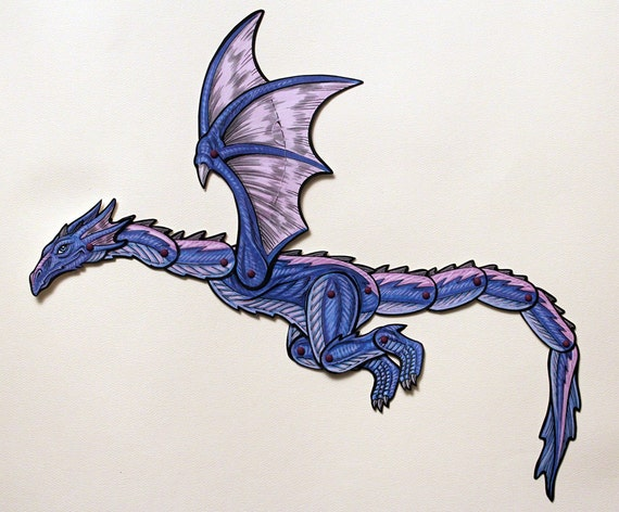 Wyvern Articulated Paper Doll Sky Dragon Fantasy Etsy