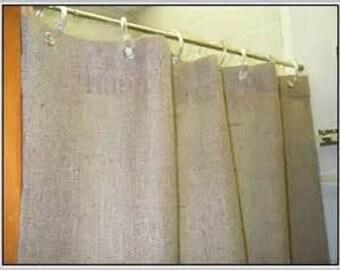 BURLAP SHOWER CURTAIN Semi Sheer Rustic Natural Color Choose Length Regular 72 Long 84 Or Extra 96