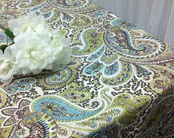 Delicieux PAISLEY TABLECLOTH  CUSTOM Sizes, 54 60 72 84 96 108 132 Tan Brown Aqua  Green, 100% Cotton, Paisley Print Tablecloth