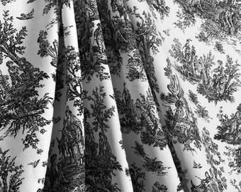 BLACK WHITE TOILE Curtains Designer Window Panels