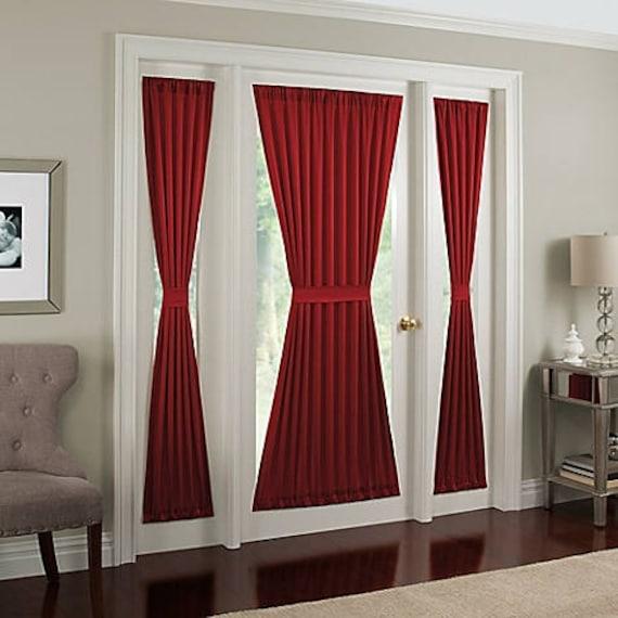 French Door Panel Colors Single Curtain No Ruffle Sidelight Patio Foyer Unlined Semi Sheer Free Cinch Tieback Side Window Panel