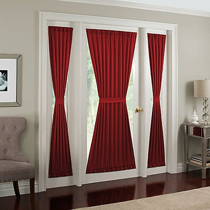 FRENCH DOOR Panel  COLORs, Single Curtain, No Ruffle, Sidelight, Patio,  Foyer, Unlined, Semi Sheer, FREE Cinch Tieback, Side Window Panel