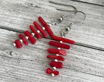 Red Coral Earrings- Gemstone Earrings - clothing gift - Birthday Gift Everyday Earrings - Coral red ethnic  Jewelry -