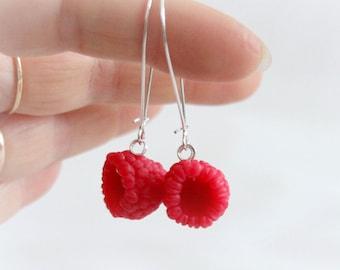 Red berries raspberry Earrings, Polymer clay jewelry, fresh summer Raspberry, Berry Fruit , handmade food