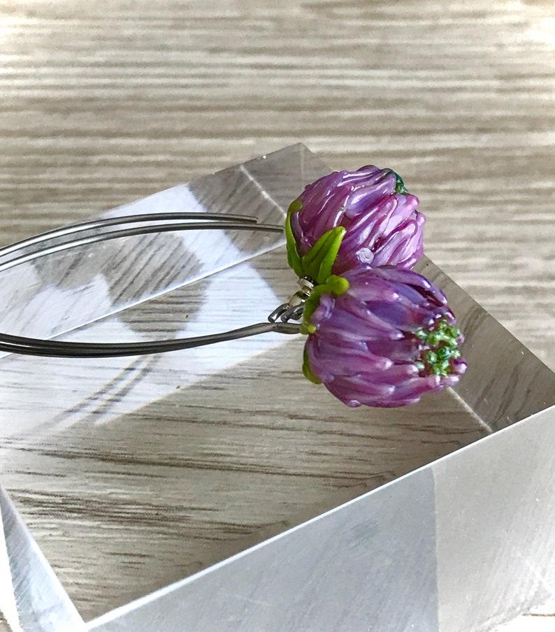 rustic wedding pink purple floral murano jewelry botanical christmas gift Flower lampwork glass earrings