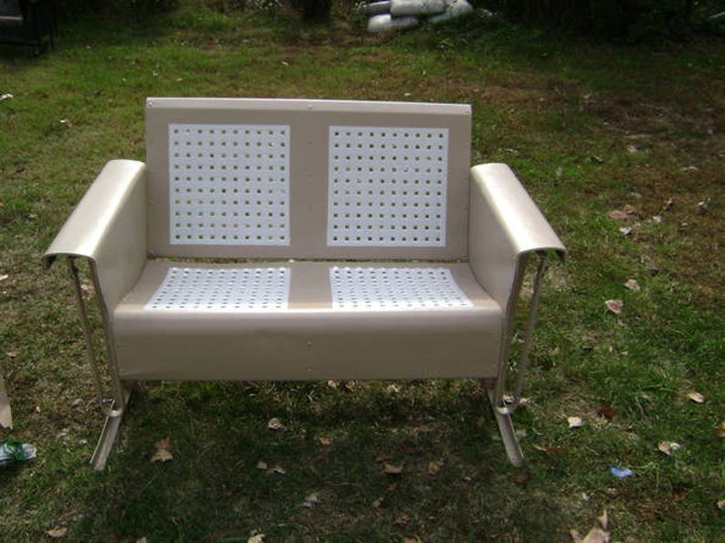 Pleasant Restored Vintage Metal Porch Patio Glider Loveseat Basketweave Onthecornerstone Fun Painted Chair Ideas Images Onthecornerstoneorg