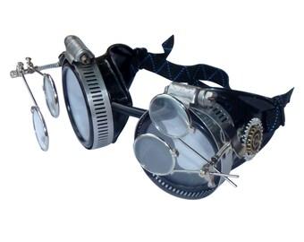 56249db9e9a Victorian Steampunk goggles aviator victorian welding biker eye cup--bbb  clear2