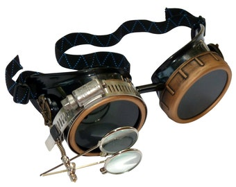 Steampunk Goggles-Rave Glasses Victorian Style with Compass Design, Colored Lenses & Ocular Loupe costume accessory gcg
