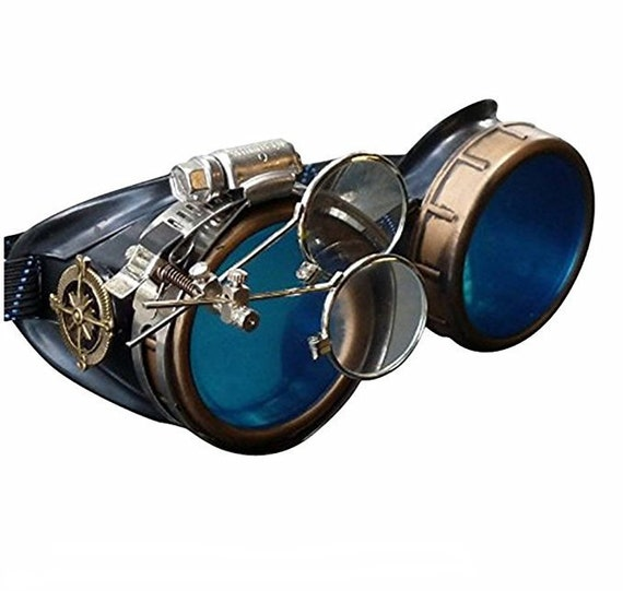 Steampunk Goggles Rave Glasses Victorian Style With Compass Etsy