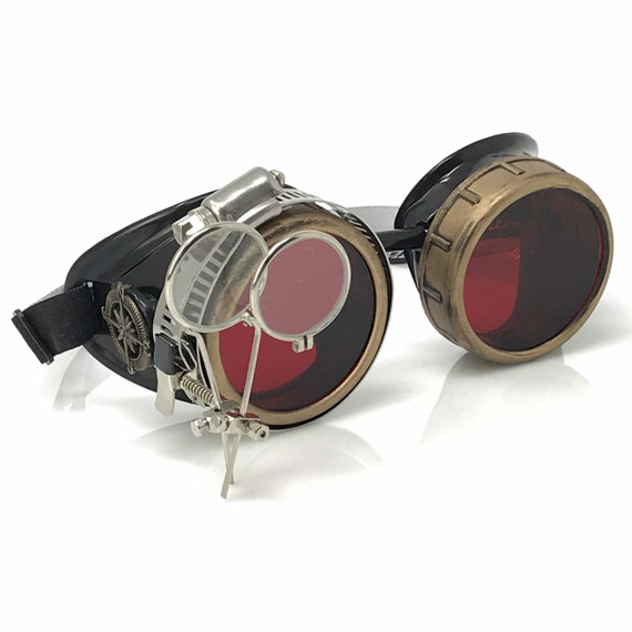 """Steampunk Goggles Aviator Steampunk Monocle /""""R/"""" Mad Max Rave Goth Victorian gift"""