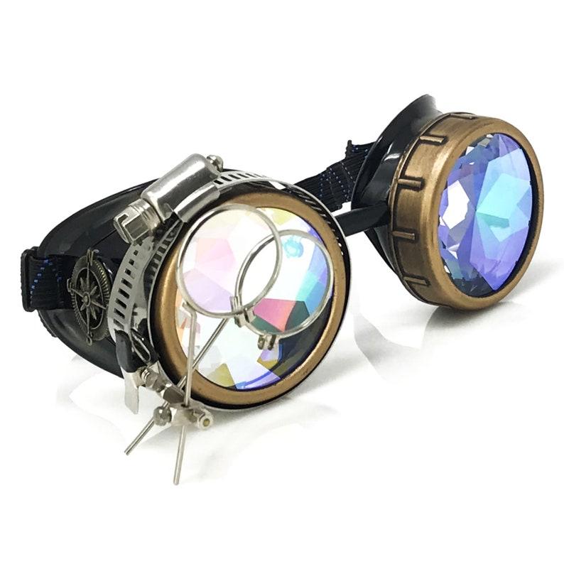3d Kaleidoscope Rainbow Steampunk Goggles Rave Glasses Etsy