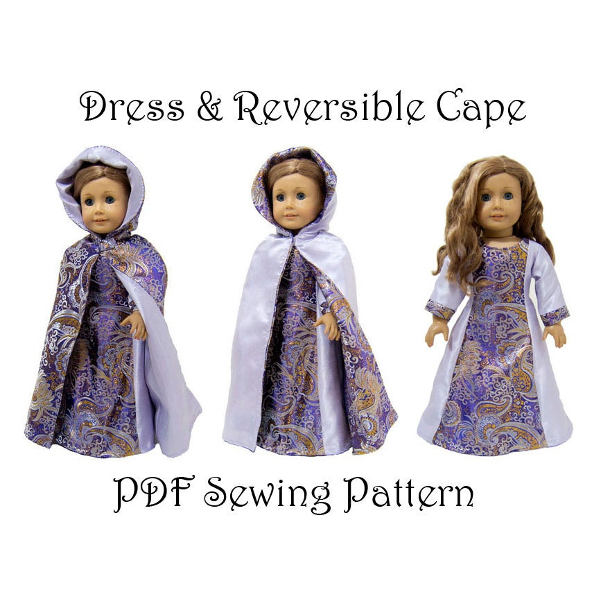 Sensational Dress And Hooded Cape Sewing Pattern 18 Inch Doll Pattern Pdf Download Free Architecture Designs Scobabritishbridgeorg