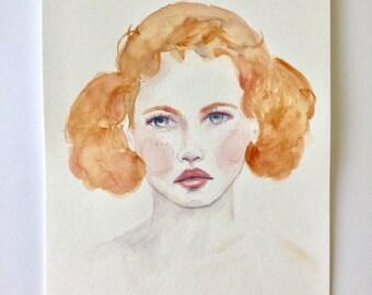 Original Watercolor Portrait 8in x 10 in