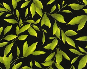 Catalina Green Leaves on Black by Maywood Quilting Fabric by the Half Yard