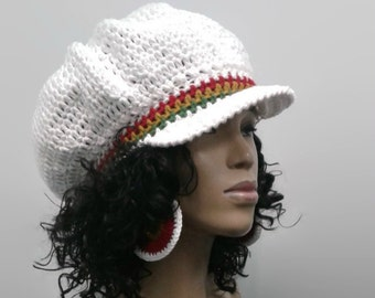 PATTERN ONLY Easy Crochet Rasta Brimmed Beanie/Newsboy Hat/ Tam 2 different brim options in pattern