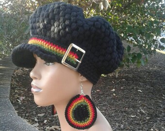 MADE TO ORDER Black puff stitch Newsboy Hat  Beanie with brim  Rasta  Stripes strap and Silver buckle and free matching crochet earrings 337b74d20797