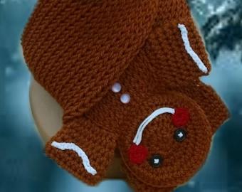 PATTERN ONLY Loom Knit Crochet Gingerbread Man Scarf Pattern