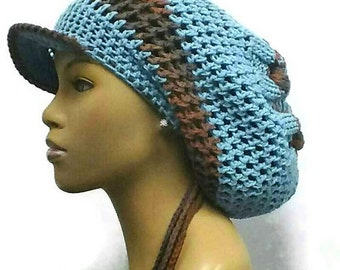 PATTERN ONLY Instant Download The Knotted Slouch hat Knit and Crochet  Dreadlock hat brim and drawstring optional and included in pdf pattern 50becc0403d