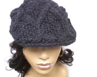 PATTERN ONLY Cabled Hand Knit Unisex Newsboy hat pdf pattern Instant download pdf pattern