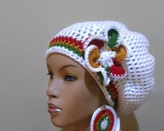 Instant Download Crochet Pattern adjustable Slouch hat/Dreadlock hat/Tam with drawstring with FREE flower clip pattern