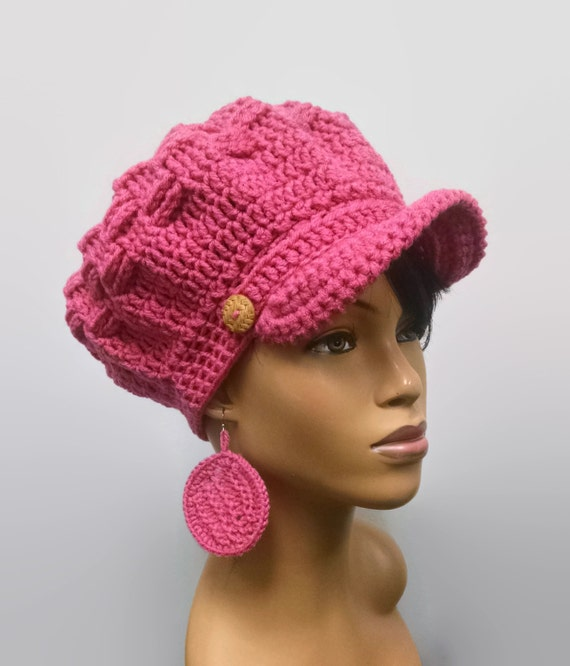 MADE TO ORDER Raspberry Pink Newsboy Hat Beret Beanie with  1672198f37c7