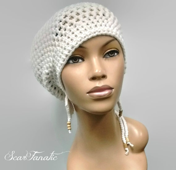 518d160e9ec MADE TO ORDER Large White Crochet Slouch Hat   Dreadlock hat