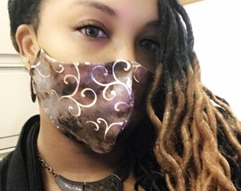 100% Shades of Brown Face Mask with bronze copper swirls /MADE IN USA