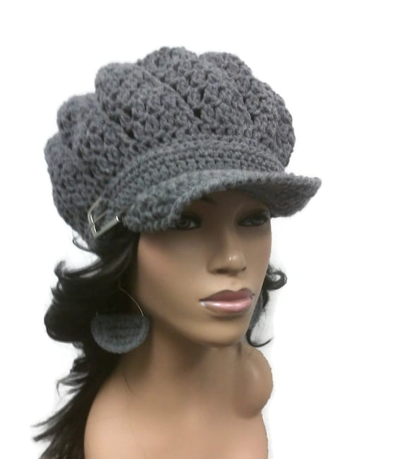 MADE TO ORDER Heather Grey Newsboy Hat Beanie Tam with brim  66bf93570206