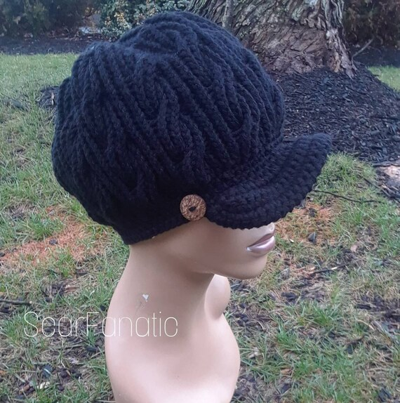 MADE TO ORDER Black hand knit cabled Newsboy Hat  Slouchy  29a492c5b2ff